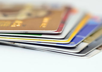 Close up credit cards on isolated white background